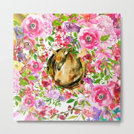 Colorful pink lilac brown watercolor deer floral Metal Print