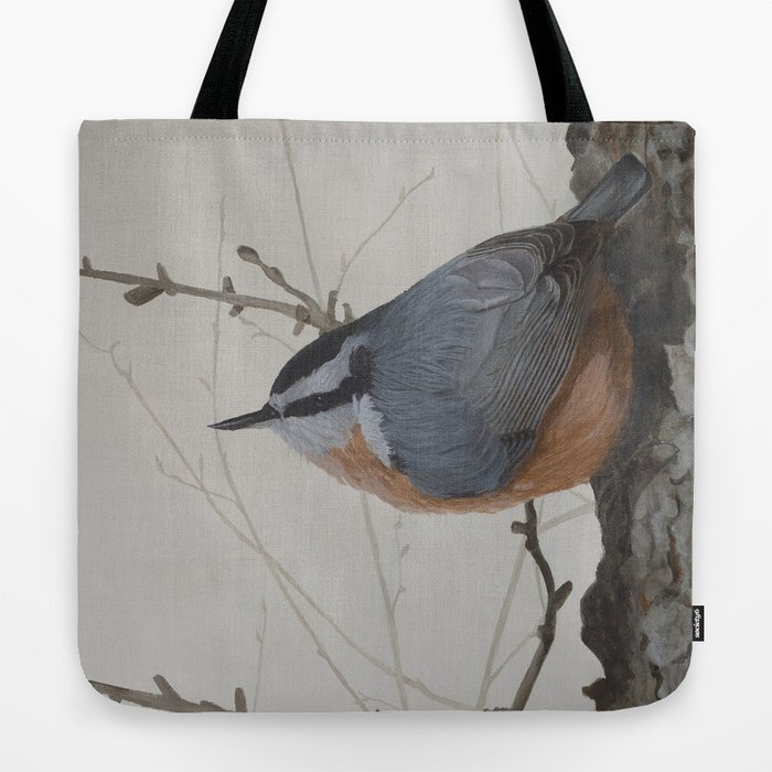 Red-breasted Nuthatch at Yellowknife River Tote Bag by ShawnaLampiLegaree - 18