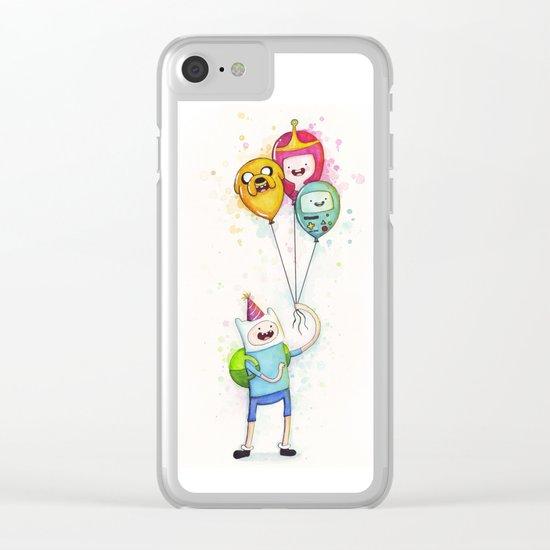 Finn with Birthday Balloons Jake Princess Bubblegum BMO Clear iPhone Case