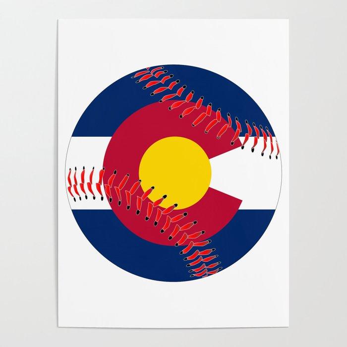 Colorado Flag Baseball Poster