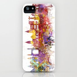 Lima skyline in watercolor background iPhone Case