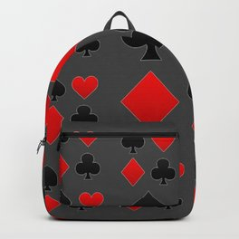 RED & BLACK PLAYING CARD  ART ON CHARCOAL GREY Backpack