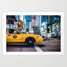 Yellow cab on Times Square traffic Art Print