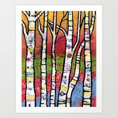 Enchanted Aspen Forest - The Trees Sparkle and Sing  Art Print