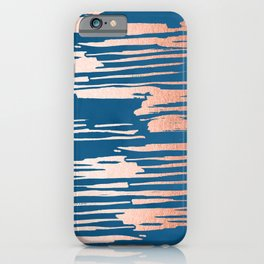 Tiger Paint Stripes - Sweet Peach Shimmer on Saltwater Taffy Teal iPhone Case