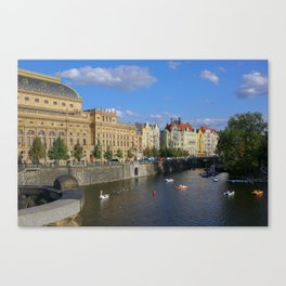 Sunny Day in Prague - View from Legion Bridge Canvas Print