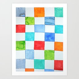 Minnow's Patchwork - Watercolor Squares Art Print