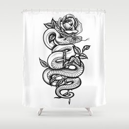 Snake and Rose Shower Curtain