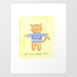 Cat in a Cable Knit Art Print