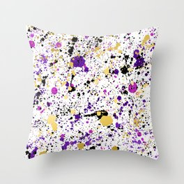 Colorful Paint Splatter Throw Pillow