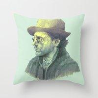 sherlock holmes Throw Pillows featuring sherlock holmes by Doruktan Turan