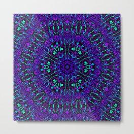 Cyan, Blue, and Purple Kaleidoscope 2 Metal Print
