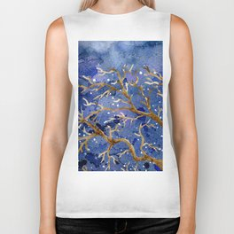 Watercolor Abstract Oak Tree Night Scene Biker Tank