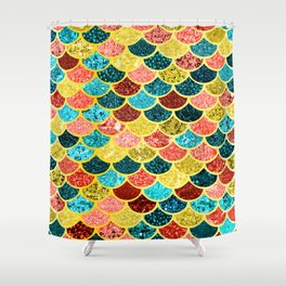 Glitter Aquas, Greens, and Gold Mermaid Scales Pattern Shower Curtain