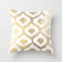Modern white hand drawn ikat pattern faux gold Throw Pillow