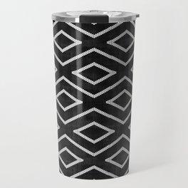 Stitch Diamond Tribal Print in Black and White Travel Mug