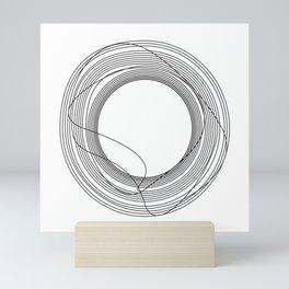 Tangled Black Circles on White pattern design Mini Art Print