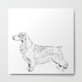 Spaniel Ink Drawing Metal Print