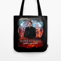 crowley Tote Bags featuring Supernatural Crowley King of Hell S6 by Jamie Fontaine