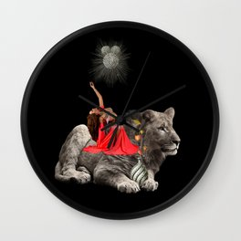 Lion and red woman collage Wall Clock