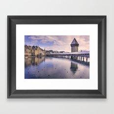 Lucerne old bridge by winter Framed Art Print