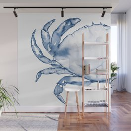 Coastal Crab in Watercolor, Navy Blue (Left Half in Set) Wall Mural
