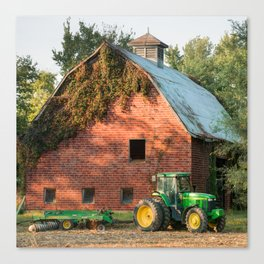 Vintage Barn and Green Farm Tractor 1x1 Canvas Print