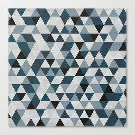 Sea Blue and Grey / Gray - Hipster Geometric Triangle Pattern 02 Canvas Print