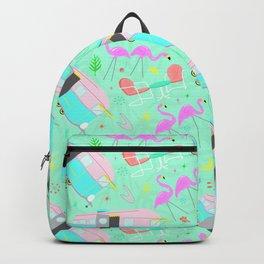 Midcentury Retro Yard Flamingos + Campers Backpack