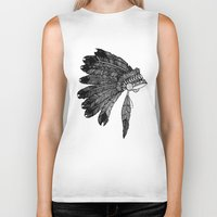 headdress Biker Tanks featuring Native Headdress by Caleb Swenson