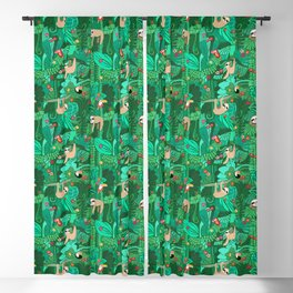 Sloths in the Emerald Jungle Pattern Blackout Curtain