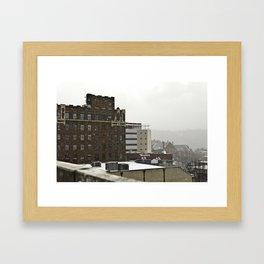 Snowy Cityscape Framed Art Print