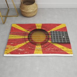 Old Vintage Acoustic Guitar with Macedonian Flag Rug