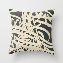 Scribbles in black Throw Pillow