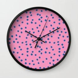 Polka Dots - pink and blue Wall Clock