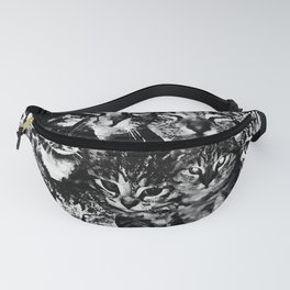 cat collage our beloved kitten cats watercolor splatters black white Fanny Pack