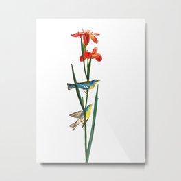 Bird & Red Flowers Metal Print