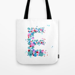 Watercolor hand painted the letter E. It is drawn from circles. ABC. Monogram Tote Bag