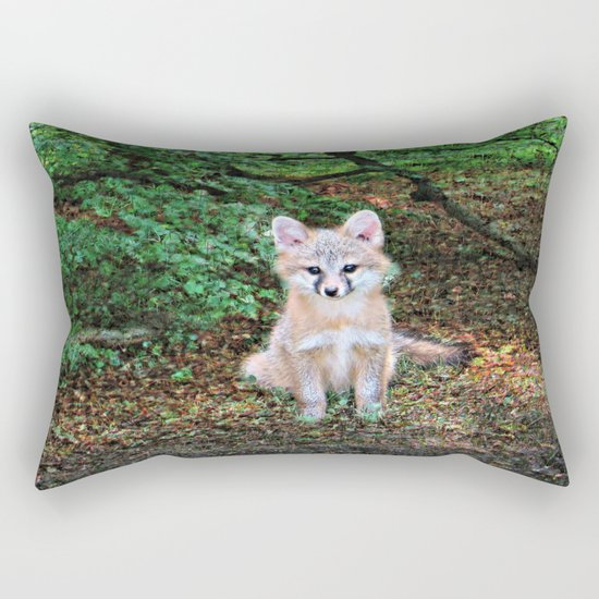 Little Grey Fox II Rectangular Pillow