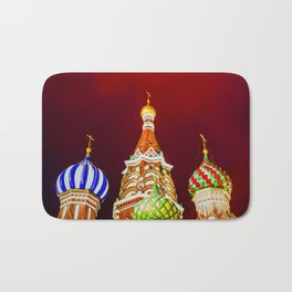 Saint Basil's Cathedral Domes Against The Red Night Sky Bath Mat