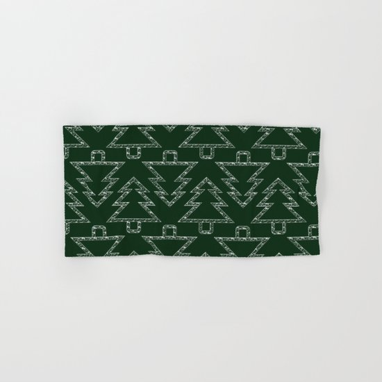Merry Christmas- Abstract christmas tree pattern on festive green Hand & Bath Towel