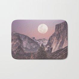 Pastel Full Moon Over Yosemite Park Bath Mat