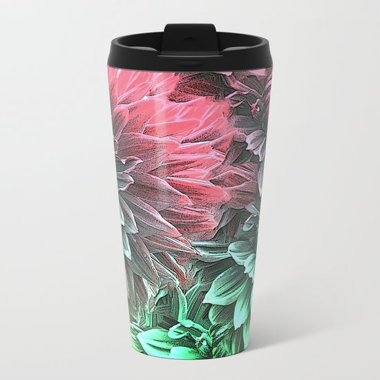 Aqua Fuchsia Floral Metal Travel Mug