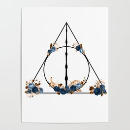 Deathly Hallows in Blue and Brown Poster