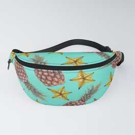 Starfruits - Pineapple pattern - turquoise background Fanny Pack