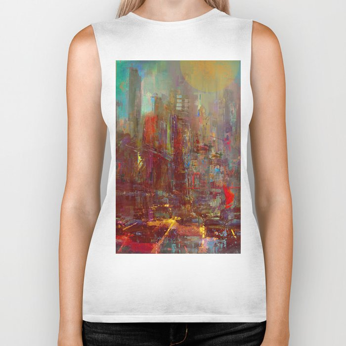 Abstract city Biker Tank