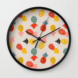 Pineapple Party – Teal & Red Wall Clock