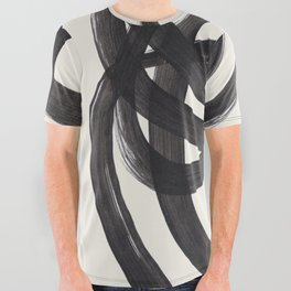 Mid Century Modern Minimalist Abstract Art Brush Strokes Black & White Ink Art Spiral Circles All Over Graphic Tee