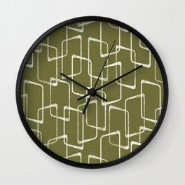 Avocado Green Retro Geometric Pattern Wall Clock