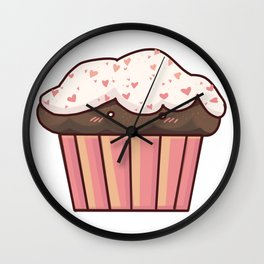 muffin with hearts Wall Clock
